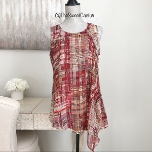 WHBM Check Print Ruffle Sleeveless Blouse